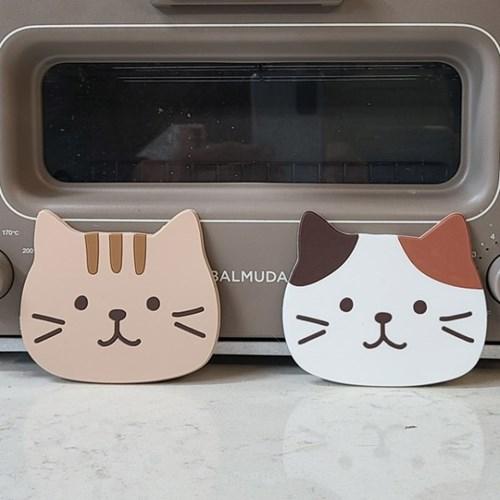 러블리 고양이 페이스 PVC 코스터 컵받침대