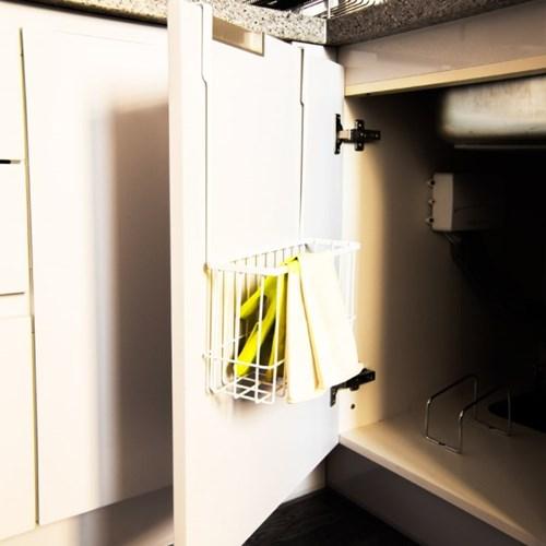 화이트메탈 주방도어안쪽 수납 바구니 정리함