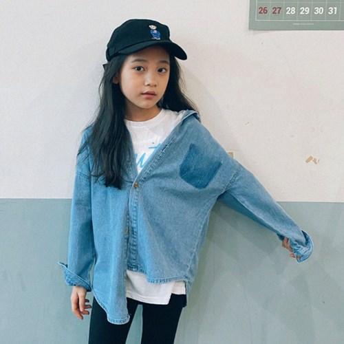 핑) 포켓 아동 데님셔츠-주니어까지