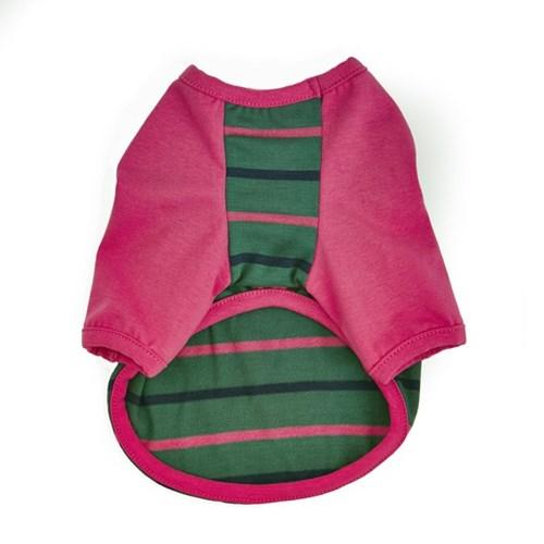 베이스볼 스트라이프 티셔츠 - 카키/핑크