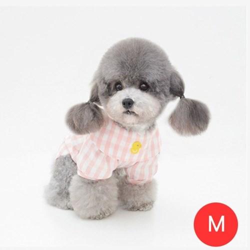 체크노랑오리 강아지 셔츠 모자미포함 핑크 M