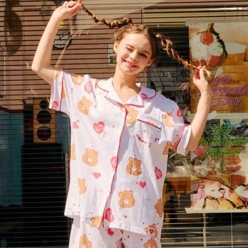 케어베어 텐더하트 패턴 파자마 : 반팔
