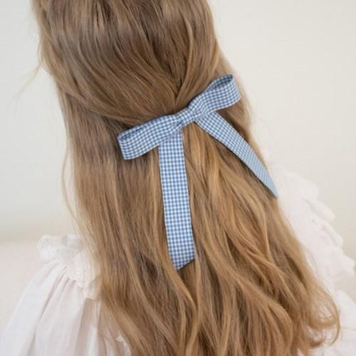 gingham check ribbon hair pin (4colors)