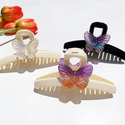 영롱 문라이트 나비 한 마리 웨이브 헤어 집게핀 (3color)