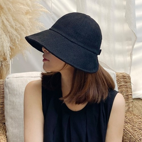 여성 벙거지 여름 린넨 벨크로 버킷햇 모자