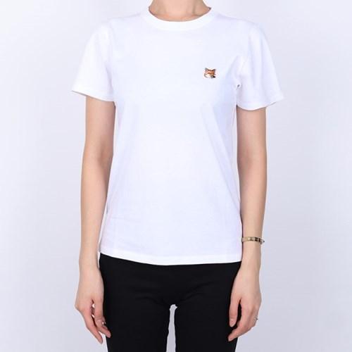 21FW 메종키츠네 폭스헤드 패치 티셔츠 (여성/화이트) AW00103KJ0005