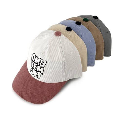 투톤 시보리 자수 볼캡 야구 모자 가을 겨울