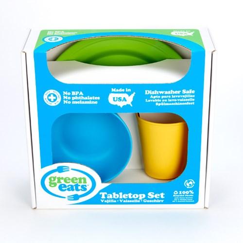 [그린이츠] 식기세트(플레이트-그린1/볼-블루1/컵-옐로우1)