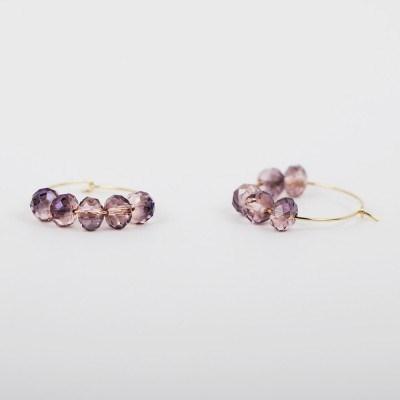 violet crystal hook earring