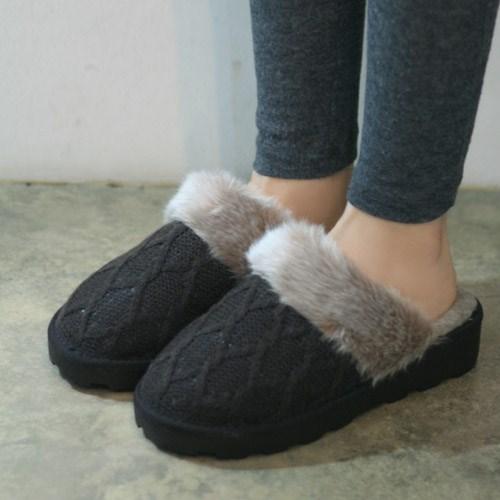 국내생산 Chain pattern knit fur slippers_KM14w197