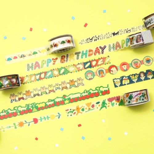 [AIUEO] Masking tape katanuki - happy birthday