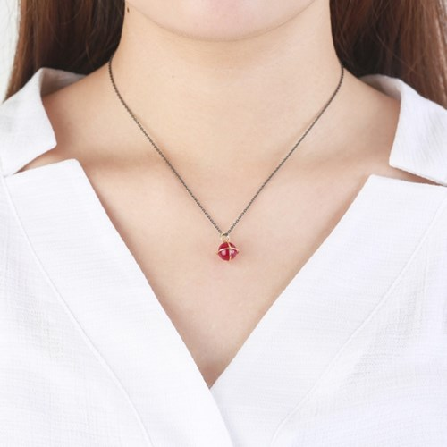 Medium Orbit Necklace - Synth ruby/Oxi chain