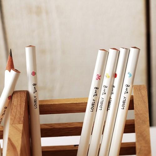 [주문제작]네임연필2B 12자루화이트 쪼꼬미
