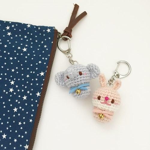 손뜨개 열쇠고리, 키링, 가방걸이, 핸드폰줄 - 토끼와 코끼리