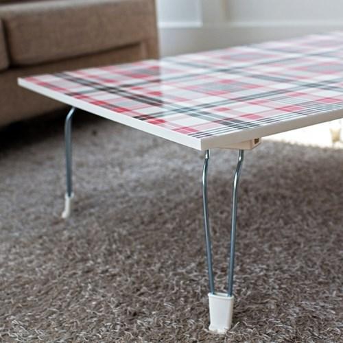 핑크 체크 다용도 테이블