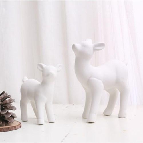 사슴 화이트 세라믹 오브제 (2마리세트)