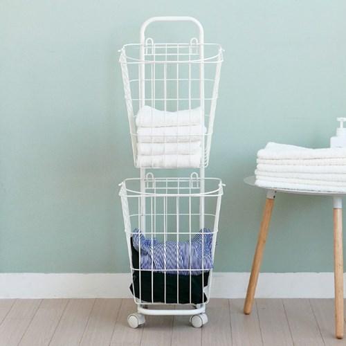클린 이동형 2단 다용도 세탁 바스켓