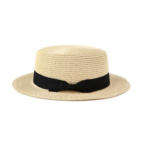 [4 colors] flat brimmed straw ribbon hat