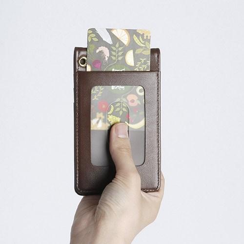 플립 자석 카드 목걸이 지갑 013 [초코 브라운]