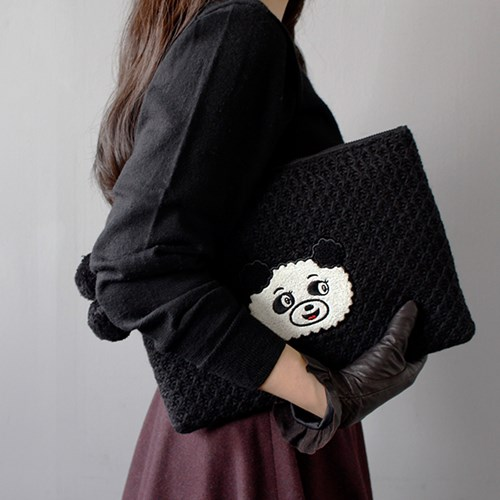 KNIT POMPOM CLUTCH BAG Ver.2 3종