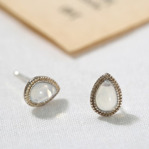[925 실버] 물방울 블러 원석 귀걸이