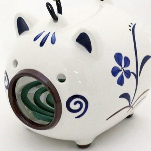 일본 고급 돼지 도기 모기향 용기,그릇 (돼지) _T4404