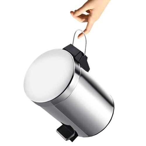 스테인레스 무소음 원형 페달 휴지통 5L 쓰레기통