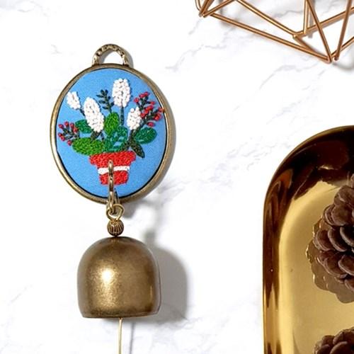 돈을부르는 꽃 도어벨 프랑스자수 패키지 diy 도안 집들이 개업 선물