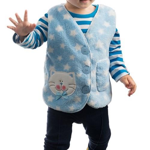 포근한 극세사 고양이 유아조끼 mlg3132