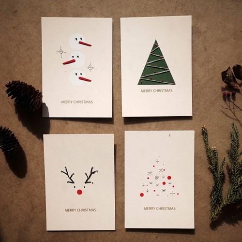 크리스마스 자수카드 DIY KIT - 루돌프,눈사람,레드트리,그린트리