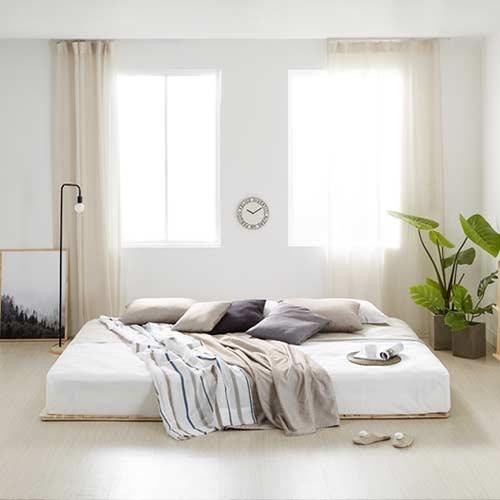 고급 소나무 원목깔판 저상형 침대프레임 S/SS/Q/K