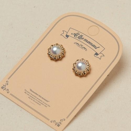 [925실버] 엔틱 진주 버튼 귀걸이