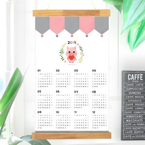 러블리 꿀꿀이 2019 패브릭 달력포스터+행잉액자 set