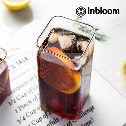 인블룸 북유럽스타일 로고 투명 유리 사각형컵_(1686451)