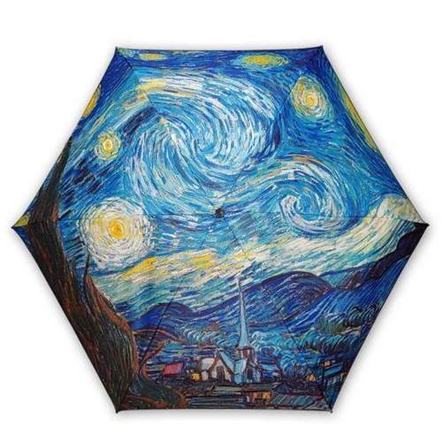 차광률99.9% 암막명화5단미니양산-고흐 별이 빛나는 밤