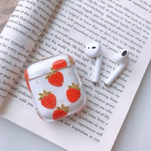 오렌지 딸기 일러스트 투명 에어팟 케이스