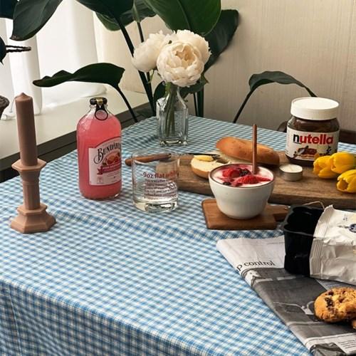 빈티지블루체크 식탁보 테이블보 150x175cm 테이블러너