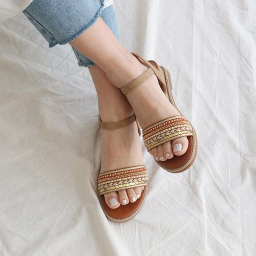 kami et muse Various beads strap middle wedge sandals_KM19s263