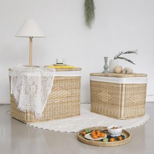 포홈 라탄 등나무 수납 테이블 (특대)_(1637009)