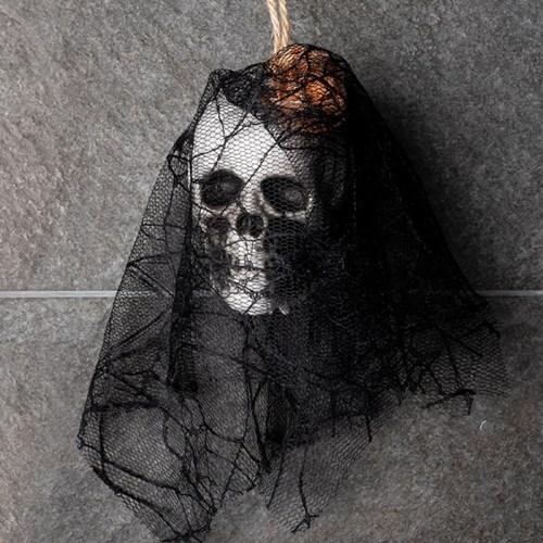 레이스망사 잘린 해골머리 장식 [플라워 오렌지]_(11786404)