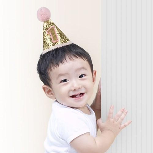 솜방울 글리터 생일고깔모자 유아용 [첫돌 핑크]_(11786464)