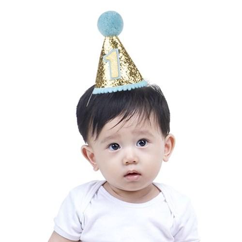 솜방울 글리터 생일고깔모자 유아용 [첫돌 블루]_(11786465)