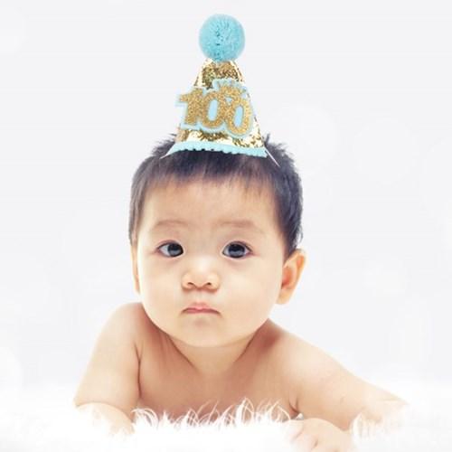솜방울 글리터 생일고깔모자 유아용 [100일 블루]_(11786467)