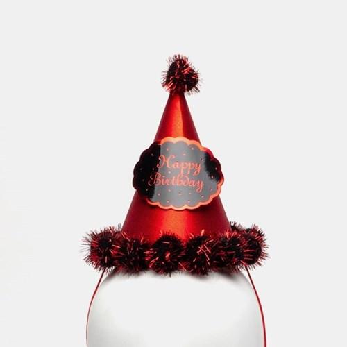 글리터 방울 생일고깔모자 소 [레드]_(11817717)