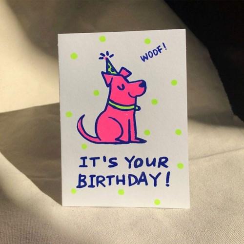 [핸드메이드카드] 형광 생일 도그