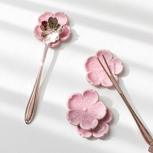 벚꽃 도자기 수저받침_(1391111)