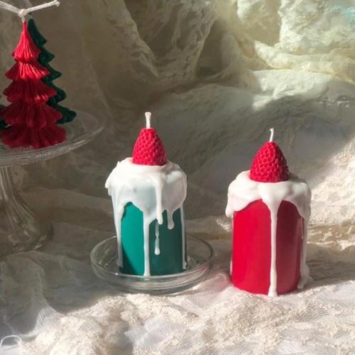 크리스마스 , 딸기 크림 캔들