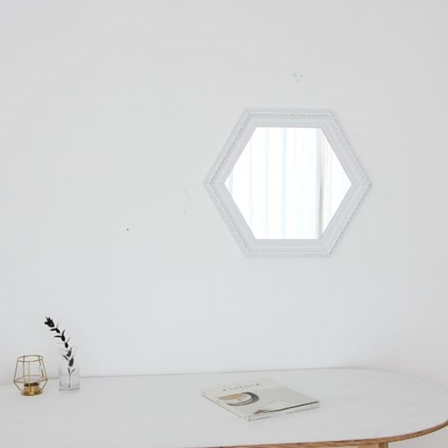 육각 409화이트 벽거울