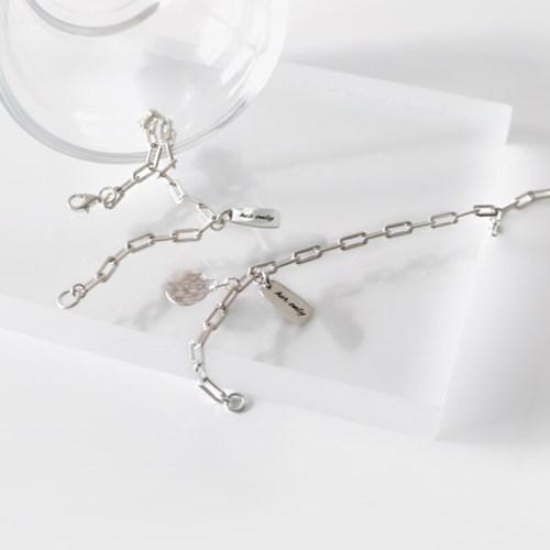 (92.5 silver) you and I lettering bracelet