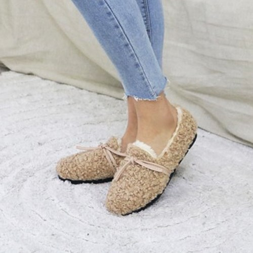 kami et muse Tied ribbon boucle fur loafers_KM19w174